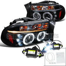 1997-2004 Dakota/Durango LED Halo Projector Headlight Glossy Black+6000K HID Kit