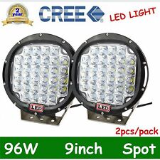 Pair 96W Round 9inch Cree Led Spot Driving Work Light Offroad Truck 4WD SUV DEAL