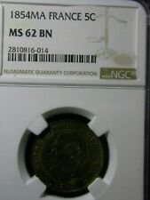 5 Centimes  FRANCE 1854 MA NGC MS 62 BN