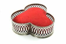 HUGE Antique GORHAM Late 1800s Red Velvet and Sterling Silver Pin Cushion #345
