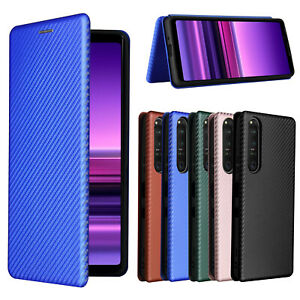 For Sony Xperia Ace II / 1 5 10 III / 1 5 8 II Carbon Fiber Wallet Leather Case