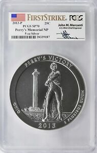 2013 Perry's Memorial 5oz Silver ATB PCGS SP70 First Strike John Mercanti Signed