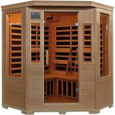 Heatwave~3-Person Hemlock Corner Infrared Sauna W/ 7 Carbon Heaters