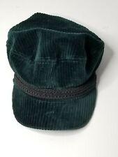 Topshop Cord Corduroy Trim Baker Boy Hat Cap Green Black Trim