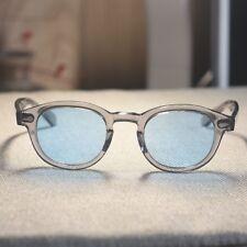 Retro Johnny Depp sunglasses mens womens crystal gray glasses blue lens M size