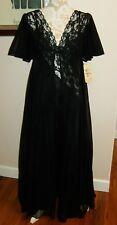 NOS Vintage VAL MODE Nightgown & Peignoir Set Black Lace w/ Flower Print Sz M