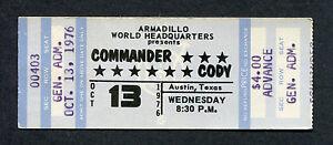 1976 Commander Cody & His Lost Planet Airmen unused full concert ticket Austin