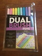 TOMBOW Dual Brush 10 Pen Set PASTEL Palette fine tip water based blendable NEW!!