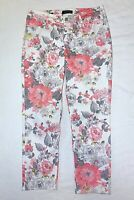 Talbots Size 10 Flawless Five Pocket Slim Ankle Floral Denim Jeans White