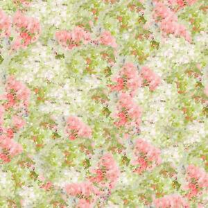 Wilmington Prints Flower Market Green Pink Hyrdangea Texture 89211-713 fabric