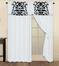 New Flocked Curtain Panel Window Covering Drapes AT LINEN PLUS