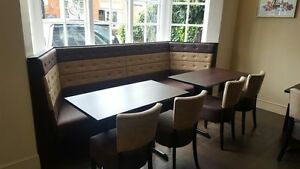Bay window Booth with buttons, horizontal panels - Restaurant Bar, Cafe, Home
