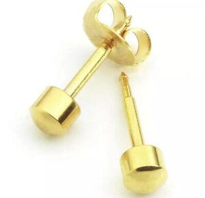 1 pair Sterilized Surgical Gold Steel Ear Piercing Studs Earrings