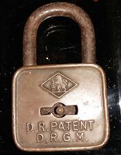D.R. Patent D.R.G.M. Löwe in Raute Schloss ca1920er Vorhängeschloss Bügelschloss