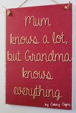 Grandma Knows Everything Mum Kids Chic Grandmother Sign Rustic Home Decor