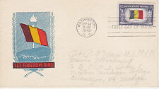 POSTAL HISTORY-1943 WORLD WAR II WWII OVERRUN COUTRY BELGIUM LET FREEDOM RING FD