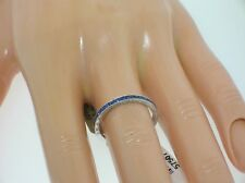 BEVERLEY K 14K WHITE GOLD BAND WITH 0.70 CTW SAPPHIRES - 6.5 US - RETAIL $1500