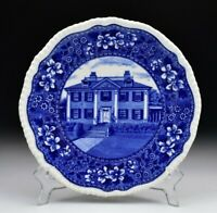Historical Blue Copeland Spode Plate with Longfellows House Cambridge