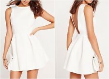 Missguided Low Back Bonded Scuba Skater Dress White UK 6 US 2 EU 34 (nc14)