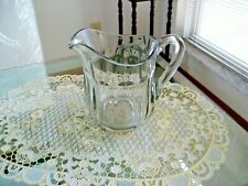 """New listing Vintage Heavy Clear Glass Beverage Pitcher *Ten Panel 5"""" tall"""