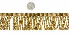 Gold Twisted 50mm Metallic Bullion Fringe Trimming Sold by the Metre