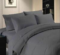 600 TC Hotel Elephant Grey Solid 100%Egyptian Cotton All UK Bedding Set's & Size