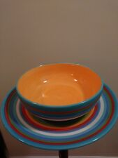 Beautiful Set By Home A Colorful Fiesta Striped Round Platter and Bowl
