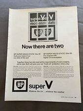 "VINTAGE 1960s BP ""TWO SUPER V VISCO-STATIC OILS"" CAR ORIGINAL ADVERT"