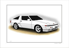 MITSUBISHI STARION TURBO LIMITED EDITION  CAR DRAWING PRINT ( 7 CAR COLOURS)