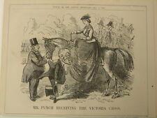 """7x10 """"Punch Cartoon 1857 Señor Punch de recibir el Victoria Cross"""