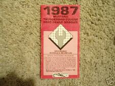 87 Ford Thunderbird Cougar Maintenance Log Book