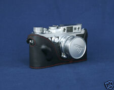 Mr. Zhou Black Leather Half Case with Red Stitch for Leica IIIg IIIf IIIc IIIa