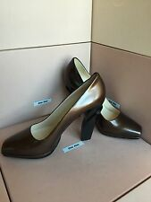 New PRADA Brown Metallic Platform High Heels Size 39.5 9.5 Women's Shoes