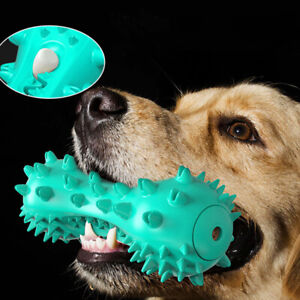 Pet Dog Squeeze Squeaky Toys Teeth Cleaning Oral Aggressive Chewers Rubber Bone