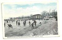 Postcard   CO Denver  Ice Skating Scene Washington Park Lake  1920s View