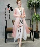 Summer Womens Chinese Linen Dress Floral Print Chiffon Jacket Coat 2Pcs Suit 19