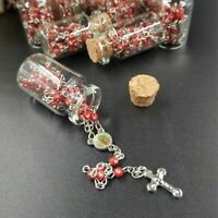 12 Rosary in Glass Bible Cross Red Beads CATHOLIC Mary Crucifix Necklace Bottle