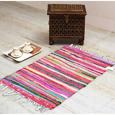 MULTICOLOR CHINDI RAG RUGS STRIPED COTTON MATS WOVEN CARPETS HANDMADE 50X80CM
