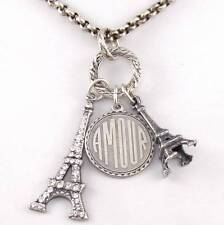Catherine Popesco France Amour Eiffel Tower Charm Rolo Chain Necklace 16.75""