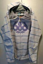 Men's infiDRY 686 White/Blue Stripe Purple Snowboard Jacket Size L Waterproof