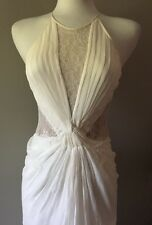 BCBG Max Azria Cream Embroidered 100% Silk Evening Gown Prom Wedding Dress. Sz 0