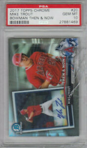 2017 Topps Chrome Mike Trout Then & Now Refractor  PSA 10 Gem Mint  CRACKED CASE