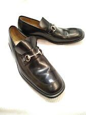 BCBG MAXAZRIA Black shiny Horsebit buckle Size 11 D men's Leather Loafers