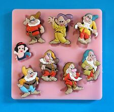 SNOW WHITE AND THE SEVEN DWARFS SILICONE MOULD FOR CAKE TOPPERS CHOCOLATE CLAY