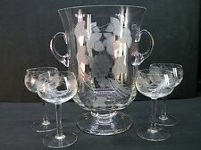 "Large 10"" Etched Glass (Grape and Leaf Pattern) 2-Handled Ice Bucket w/4 Glasses"