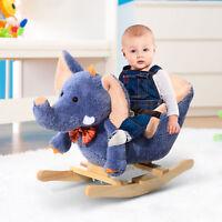 HOMCOM Rocking Horse Ride on Toy Seat Belt Safety Toddler Elephant Music