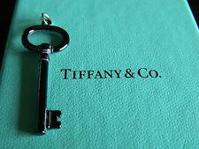 NIB Tiffany & Co Oval Black Key Titanium Sterling Silver Charm Pendant Necklace