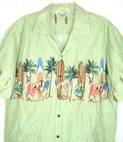 Men's Pacific Legend Hawaiian Aloha Shirt Parrots Palm Tree Surfboard Green SZ L