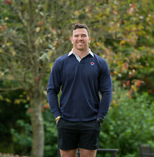 SSAFA Keegan Hirst Rugby Polo Shirt Long Sleeve 100% Cotton in Navy Sizes S-XXXL