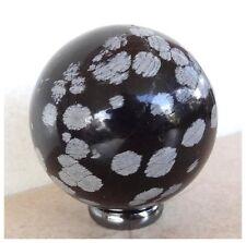 Natural SNOWFLAKE OBSIDIAN Semi Precious Gemstone SPHERE BALL 201 GRAM  + STAND